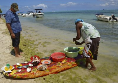 Čiščenje rib, školjk, Otok Ile Aux Benitiers